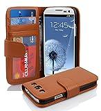 Cadorabo Hülle für Samsung Galaxy S3 / S3 NEO - Hülle in Cognac BRAUN – Handyhülle mit 3 Kartenfächern - Hülle Cover Schutzhülle Etui Tasche Book Klapp Style