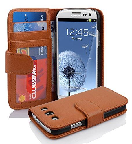 Cadorabo Custodia Libro per Samsung Galaxy S3 / S3 Neo in Marrone Cioccolata - con 3 Vani di Carte e Chiusura Magnetica - Portafoglio Cover Case Wallet Book Etui Protezione