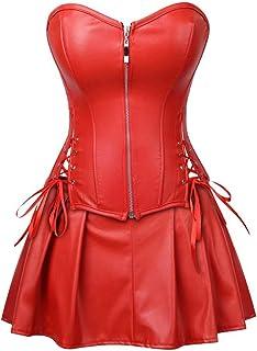 المشدات الجلدية للنساء Bustier الملابس الداخلية توب بانك روك الخصر Cincher Basque Halloween Costume
