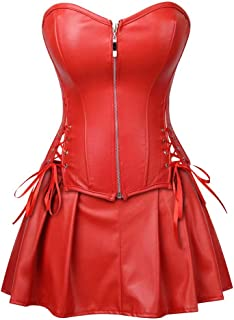 Leather Corsets for Women Bustier Lingerie Top Punk Rock Waist Cincher Basque Halloween Costume