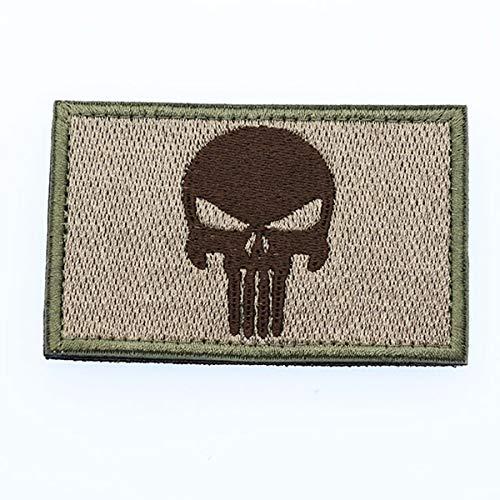 Cobra Tactical Solutions Punisher Castigador Skull Parche Bordado Táctico Moral Militar con Cinta adherente de Airsoft Paintball para Ropa de Mochila táctica