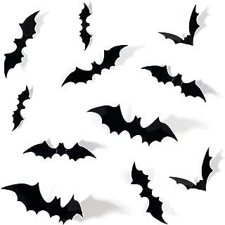 Coogam 60PCS Halloween 3D Bats Decoration, 4 Different Sizes Realistic PVC Scary Bat Sticker for Home Decor DIY Window Decal Bathroom Indoor Hallowmas Party Supplies