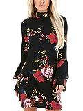 YOINS Femme Robe Imprimé Florale Robe Été Chic Manchons Évasées Mini Robe Manches Longues Mini Dress Robe Tunique Long-Noir 01 EU 44
