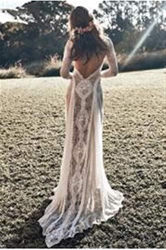 Inicio Accesorios Vestido Elegante y Sencillo Vestido Vintage de Encaje sin Espalda Boho Beach Vestidos Elegantes y Sencillos Manga Larga Forro Desnudo Vestidos Bohemios de Campo Vestido de Novia g