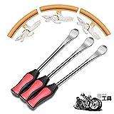 6点セット タイヤレバー バイク用3本 リムプロテクター バフ 3個バイク 自転車 タイヤ ホイール 交換 脱着 専用工具 ステンレス製 収納袋付き