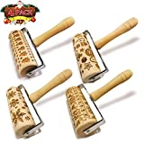 Hand-held Embossed Rolling Pins Christmas Wooden Hand Grip Engraved Rolling Pin for Baking Non-stick Embossed Professional Dough Roller for Cookies with Patterns for Kids and Adults