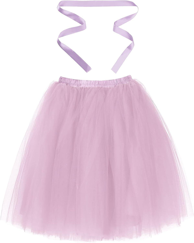 renvena Womens Knee Length 6-Layered Tulle Skirt Evening Party Prom Tutu Ballet Dance Skirts