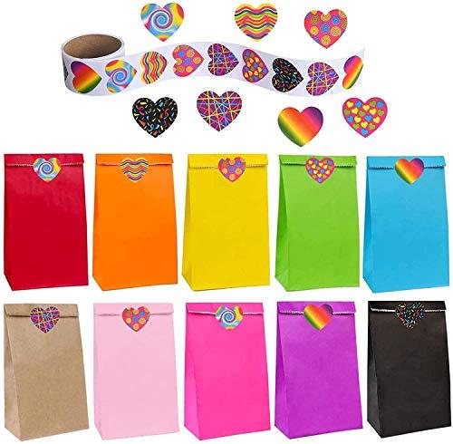 flintronic Bolsas de Regalo, 50 pcs Bolsa de Papel Kraft Bolsas de Papel en 10 Colores (+ 100 Piezas Lindas Pegatinas), para Fiestas, Ceremonias de Graduación, Bodas, Aniversarios, Navidad etc