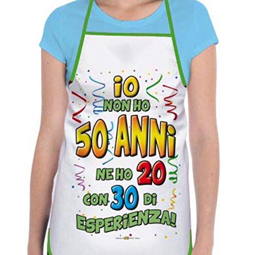 GREMBIULE 50 ANNI Gadget stampato idea regalo festa 50° COMPLEANNO