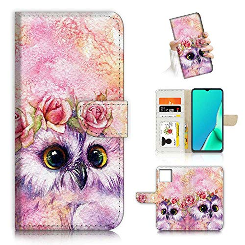 for iPhone 12, iPhone 12 Pro, Designed Flip Wallet Phone Case Cover, A21412 Cute Flower Owl 21412