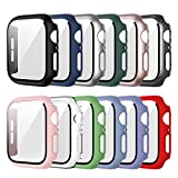 12 Pack Apple Watch Case with Tempered Glass Screen Protector for Apple Watch 44mm Series 6/5/4/SE, Haojavo Full Hard Ultra-Thin Scratch Resistant Bumper Protective Cover for iWatch Accessories