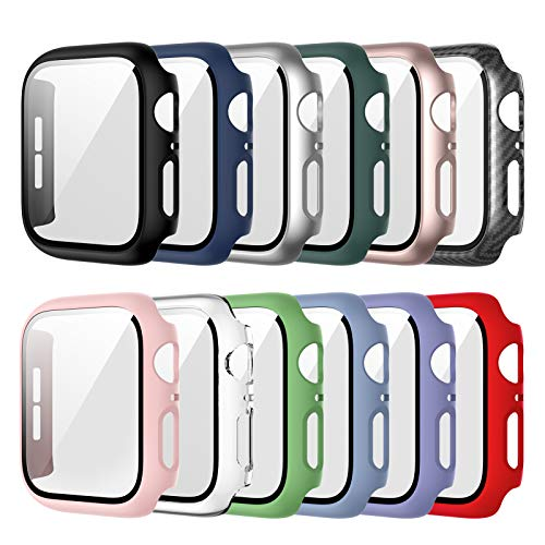 12 Pack Case Compatible for Apple Watch 44mm Series 6/5/4/SE with Tempered Glass Screen Protector, Haojavo Full Hard Ultra-Thin Scratch Resistant Bumper Protective Cover for iWatch Accessories