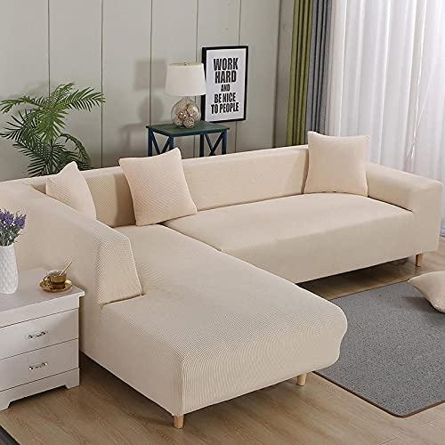 Fundas de sofá de Alta Elasticidad Seater Spandex Jacquard Patrón a Cuadros con Funda Antideslizante Protector de Muebles Tela Lavable-Premium Beige_Single_Seat_Length_Between_80-140cm