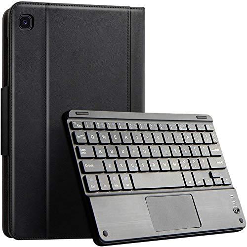 Funda con Teclado para Samsung Galaxy Tab S6 Lite 10,4 Pulgadas 2020, Funda De Piel Sintética De Primera Calidad, Teclado Bluetooth Inalámbrico Desmontable con Panel Táctil,Black