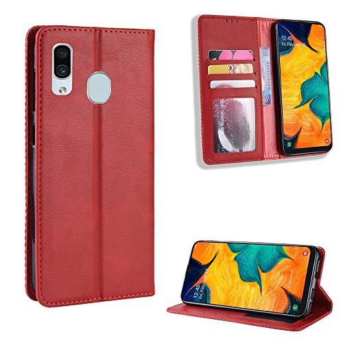 TTUDR Galaxy A20 / A30 Premium Leder Flip Schutzhülle [Standfunktion] [Kartenfächer] [Magnetverschluss] lederhülle klapphülle für Samsung Galaxy A20/A30 - TTBYU010090 Rot