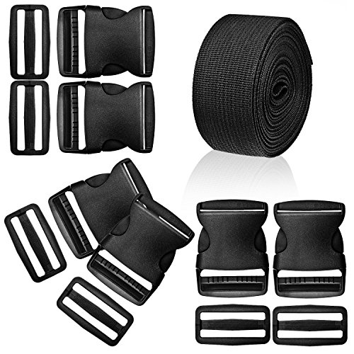 WXJ13 1.5 Inches Plastic Quick Release Buckles Flat Shape Buckles and Tri-Glide Slides with 5 Yards 1.5 Inches Wide Polypro Webbing for DIY Strap Making