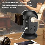 ZRSDIXKI Tower Power Strip Socket, 8 Way Outlets 4 USB Ports Tower Extension Lead, 2M / 6.56FT Bold Extension Lead with USB Slots, 2500W 10A 250V Charger Hub Mobile UK Socket with Overload Protection