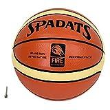 MODELA バスケットボール 7号 6号 5号球 空気針付き 人工皮革 PU皮革 屋内&屋外用 バスケ (7号 オレンジ×白ライン(中学生以上の男子))