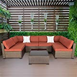 Kinsuite 7 Pieces Patio Sectional Sofa All Weather PE Rattan Wicker Conversation Sets with Glass Tea Table&Washable Cushions