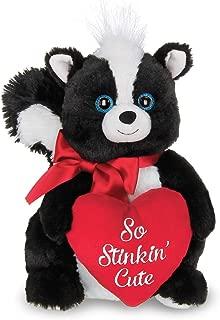 Bearington Romeo Plush Stuffed Animal Skunk with Heart, 10 inches