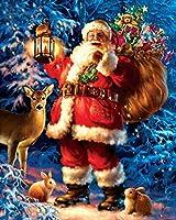 DIY 数字油絵、数字油絵 フレーム付き、キット ために 大人、初心者、子供、学生、3つのペイントブラシと1つのセットのアクリル顔料を使用したキャンバス上の塗り絵 サンタエルクウサギのクリスマスの雪のシーン-40x50cm