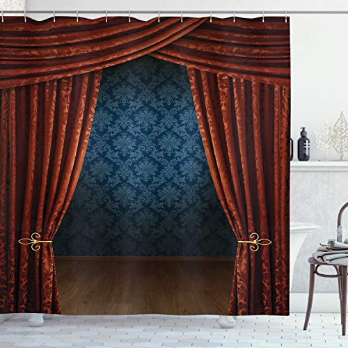 """Ambesonne Victorian Shower Curtain, Grand Opening Showroom with Retro Pattern Wall Classic Stage Theatrical, Cloth Fabric Bathroom Decor Set with Hooks, 75"""" Long, Burgundy Multicolor"""