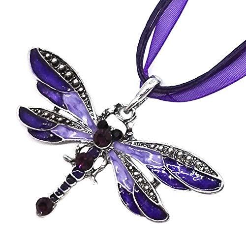 AMOZ Collares Amp, Colgantes, Estilo Libélula Collar de Diamantes Colgante Suéter Cadena Joyas Cumpleaños Morado, Mujer Joyería Pascua Rebajas Moda
