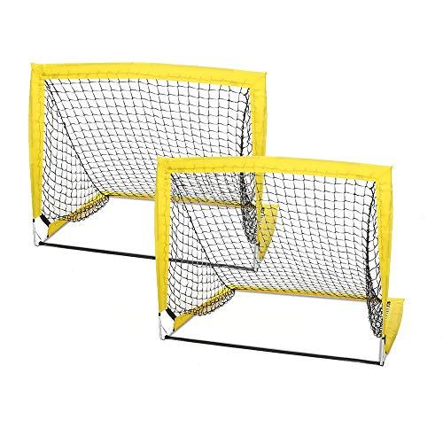 QWEEF Reti da Tennis Set di 2 Kids Football Goal Post Net con Pompa a Sfera Sport da Calcio da Esterno Indoor Set da Calcio (Color : Yellow, Size : One Szie)