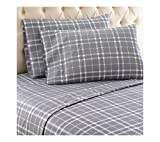 Shavel Home Products Micro Flannel Printed Sheet Set, Carlton Plaid Gray, Queen