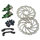 JUIN TECH R1 Hydraulic Road CX Disc Brake set 160mm with Rotor, Front and Rear,Green, JT1904
