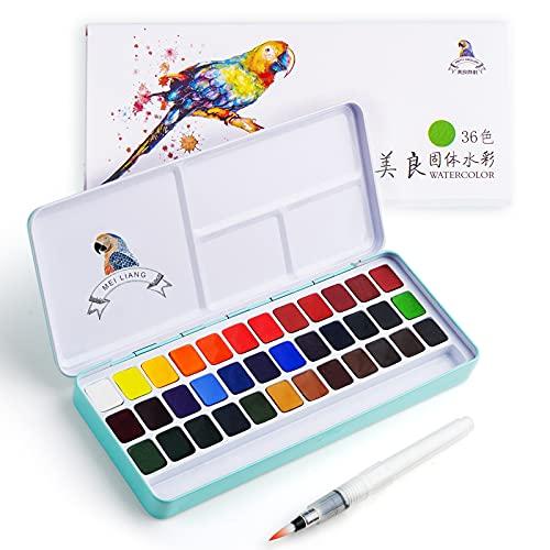 MeiLiang Aquarellfarben set, 36 Wasserfarben mit Metallbox und Aquarellpinsel, perfekt für Studenten, Kinder, Anfänger und Künstler