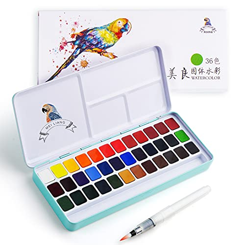 MeiLiang Watercolour Paint Set 36 Vivid Colors in Pocket Box with Metal Ring and Bonus Watercolor Brush, Perfect for Students, Kids, Beginners & More