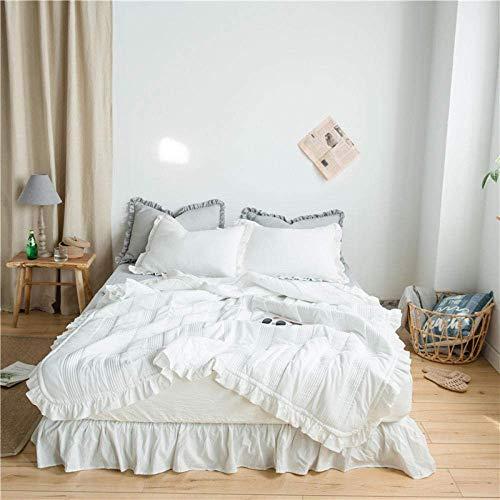 DFJU Tagesdecke Tagesdecke, Super weiche, windgesteppte Bettdecke, Chiffon-Klimadecke, einfarbige Bettdecke Kissenbezug 3-teiliges Set, weiß, 200X230cm