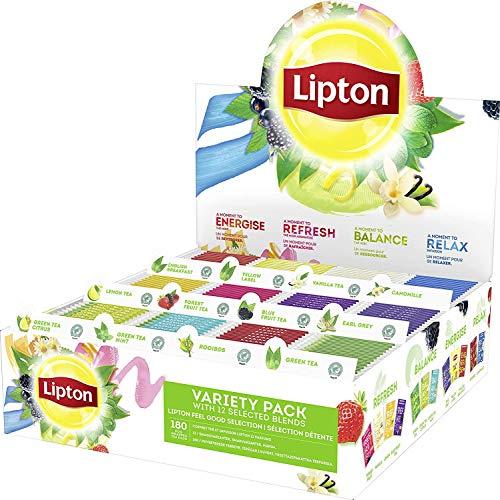 Lipton Coffret Thés et Infusions 12 Parfums, Thé noir, Thé vert, Infusions, Label Rain Forest Alliance, 180 Sachets
