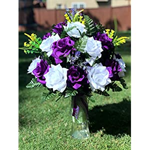 Starbouquets Cemetery Vase Arrangement ~ Beautiful Purple and White Open Rose, Lavender,Yellow Cemetery Vase Flowers ~ for a 3 Inch Vase