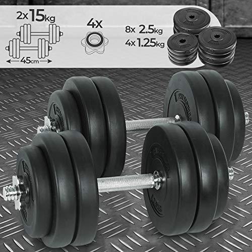 Physionics Kurzhantel Set 30 kg (2 x 15 kg) - inkl. 12 Gewichte aus Kunststoff, 2 Hantelstangen und 4 Sternverschlüssen aus Stahl, Griff gerändelt, Ø 25 mm - Hantelstangen, Kurzhanteln