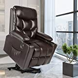 Artist Hand Leather Electric Power Lift Recliner, Lift Massage Chair for Elderly Pregnantly, Living Room Sofa Chair with 8 Point Massage, Lumbar Heated,USB Charging Port