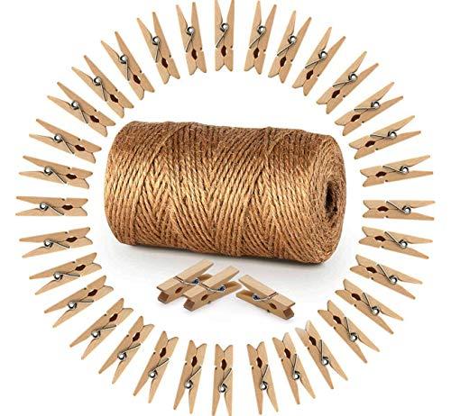 Amateco Garten Kordel 150M mit 150 Wäscheklammern Holz 3,5cm Bastelschnur Juteschnur Clothespins Verpackung Gastgeschenk