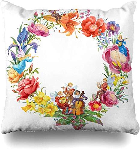 GFGKKGJFF Blütenkranz Blumen Elfen Musiker Kreise Natur Vintage Bordüre Fee Floral Flöte Laub Kissenbezug 18 x 18 Weihnachten Kissenbezug...