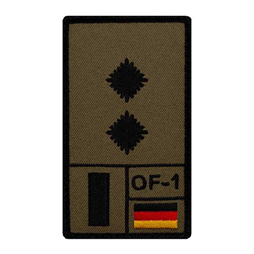 Café Viereck ® Oberleutnant Bundeswehr Rank Patch mit Dienstgrad - Gestickt mit Klett – 9,8 cm x 5,6 cm