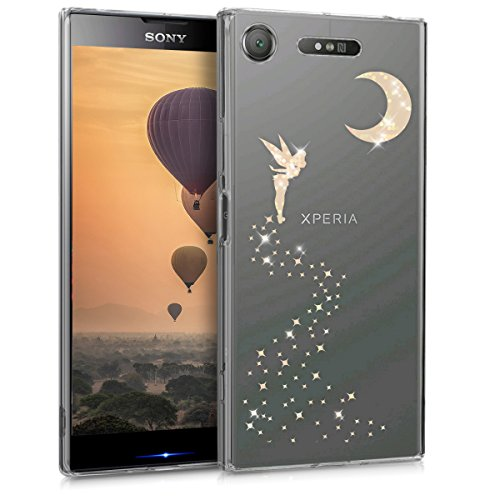 kwmobile Étui pour liseuse électronique Compatible avec Sony Xperia XZ1 - Housse Rabat liseuse Simili Cuir Or Rose-Transparent