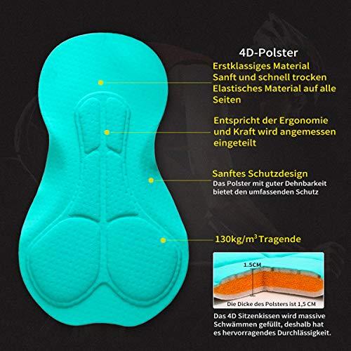 XGC Herren Kurze Radlerhose und Radunterhose Radsportshorts Fahrradhose für Männer elastische atmungsaktive 4D Schwamm Sitzpolster mit Einer hohen Dichte (S, Black_Green) - 5