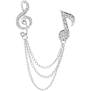 【ノーブランド 品】水晶 音楽記号 ブローチ 襟ラペル・ピン 先端ギフト ユニセックス - 銀色