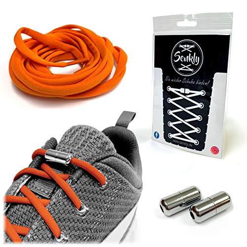 Senkly Elastische Schnürsenkel mit Metallkapsel für Sneaker (Orange-Silber)