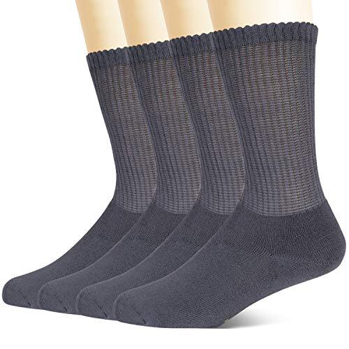 +MD Calcetines diabéticos de viscosa no vinculantes para hombres, paquete de 4 calcetines circulares con amortiguación completa Gris EU46-50