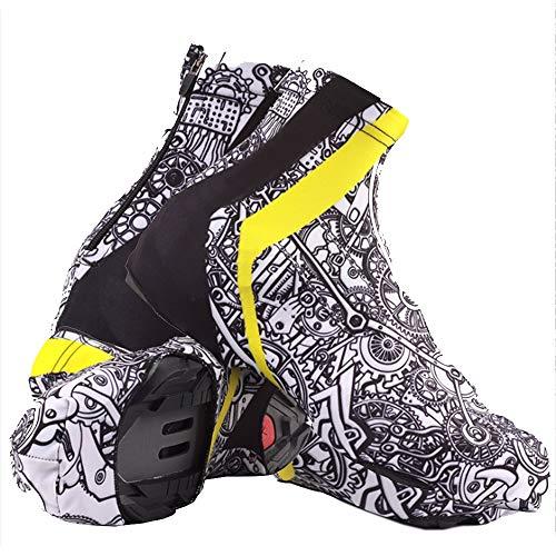 Couvre-chaussures de vélo unisexe Coupe-vent imperméable chaussures couverture équitation en extérieur Équipement créatif Graffiti équitation Couvre-chaussures Convient pour les jours pluvieux et neig