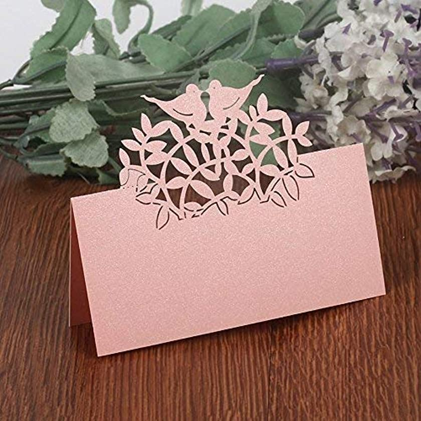 50PCS Wedding Guest Name Place Cards Party Table Name Place Cards Paper Table Numbers Place Card Escort Name Card Laser Cut Design for Wedding Party Decoration Favor (Pink-Birds)