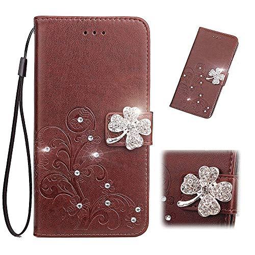 Luckyandery - Funda tipo cartera para Motorola Moto G7 (piel, tarjetero, función atril, ranuras para tarjetas de crédito), color marrón