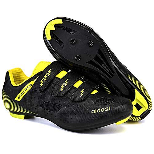 KUXUAN Zapatillas De Ciclismo De Carretera para Hombre,Zapatillas De Ciclismo De Montaña con Candados Zapatillas Deportivas De Invierno para Hombres Y Mujeres/Suelas De Nailon,Black-46EU=(280mm)