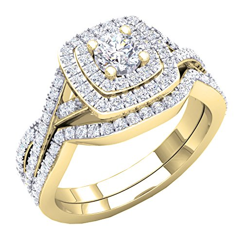 Dazzlingrock Collection 1.40 Carat (Ctw) 10K Round Cut Cubic Zirconia Ladies Halo Engagement Ring Set, Yellow Gold, Size 7.5